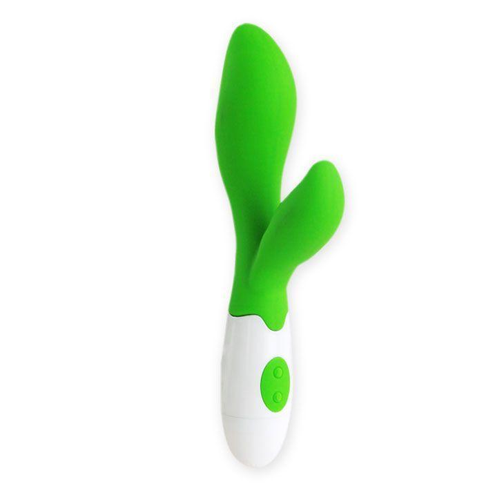 Зеленый вибратор Owen с клиторальным отростком - 20 см.-7415