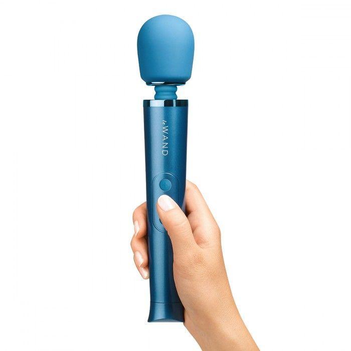 Синий жезловый мини-вибратор Le Wand c 6 режимами вибрации-251