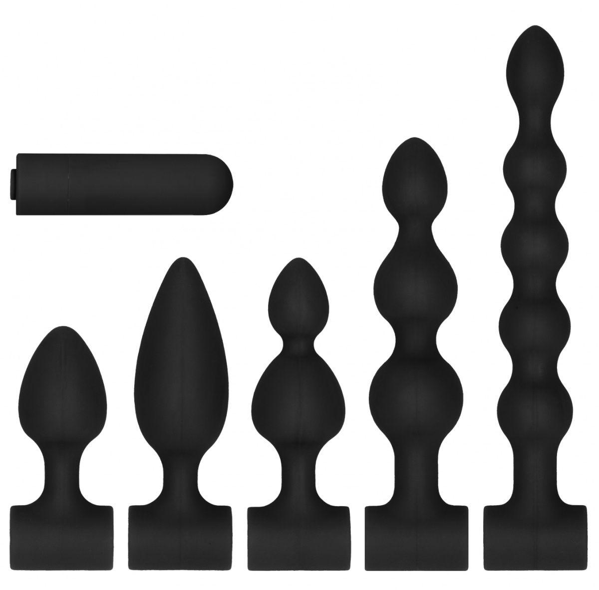 Черный анальный вибронабор USB-Rechargeable Anal Set-403