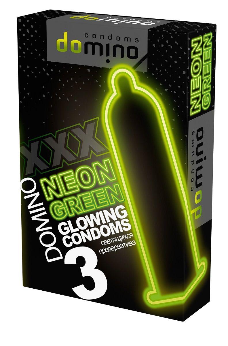 Презервативы DOMINO Neon Green со светящимся в темноте кончиком - 3 шт.