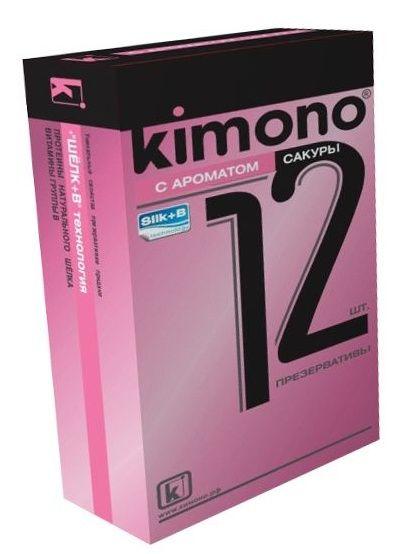 Презервативы KIMONO с ароматом сакуры - 12 шт.