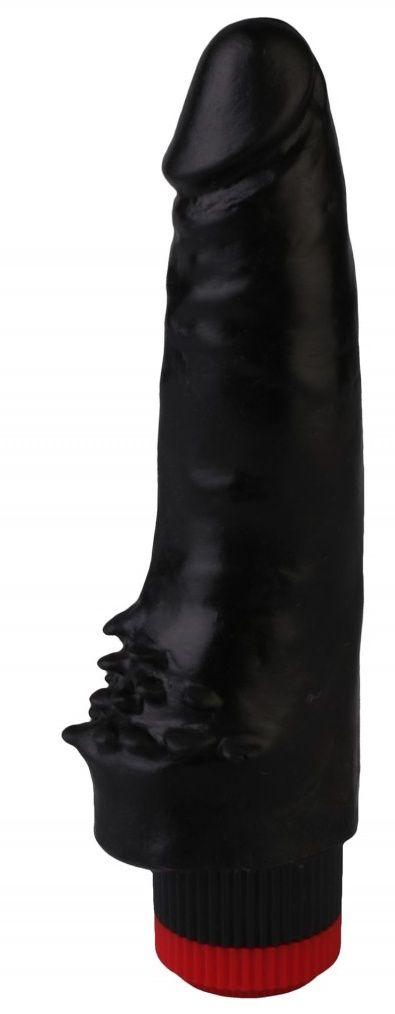 Черный реалистичный вибромассажер №10 - 17 см.-