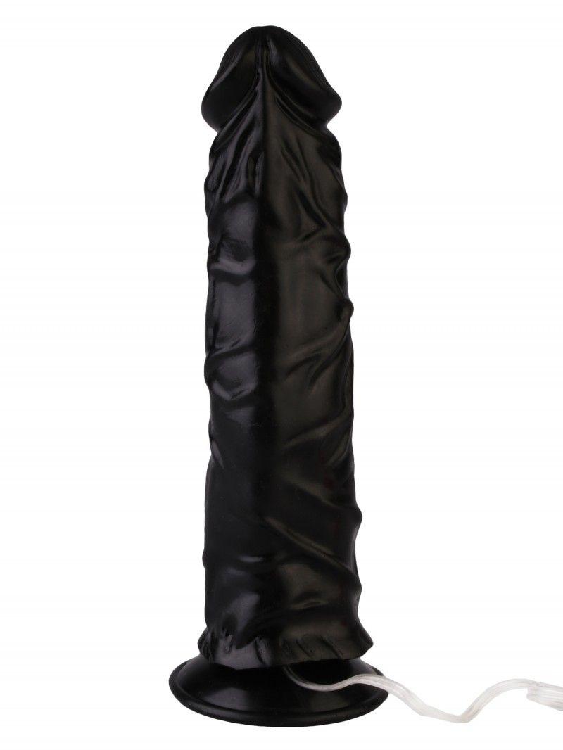 Черный реалистичный вибромассажер №9 с присоской - 19