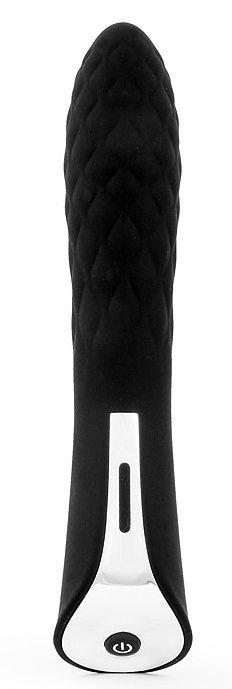 Черный стильный вибромассажер с 7 режимами пульсации - 20 см.-