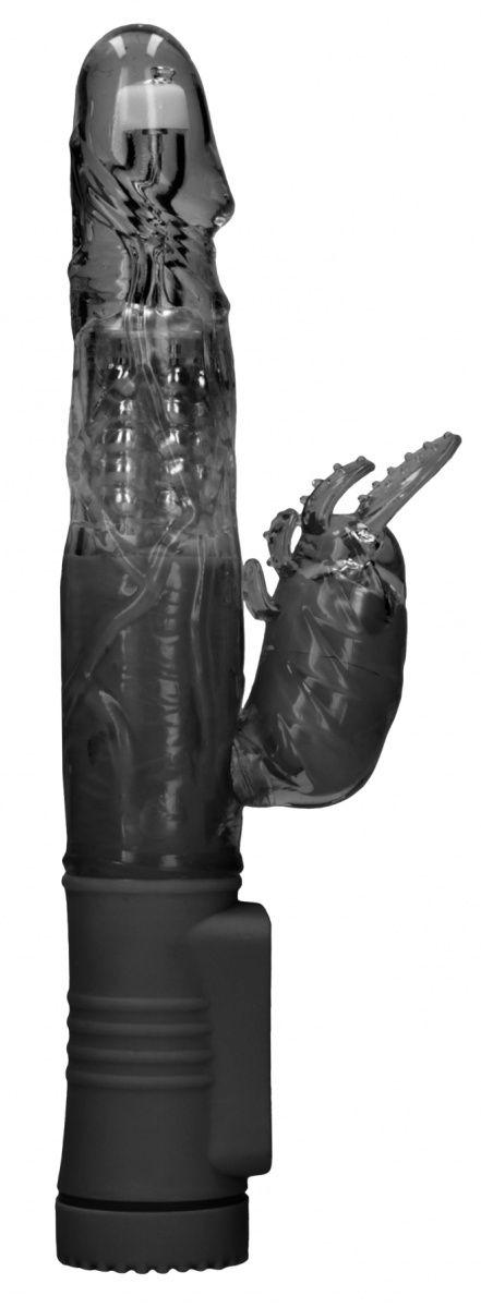 Черный вибратор-кролик Rotating Beetle - 22 см.