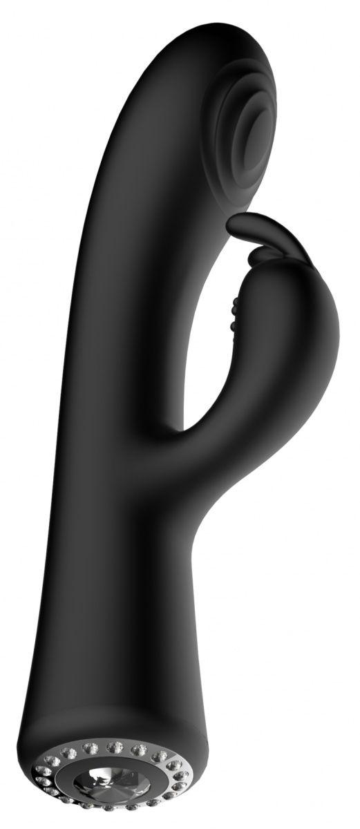 Черный вибромассажер-кролик Lux - 20 см.-
