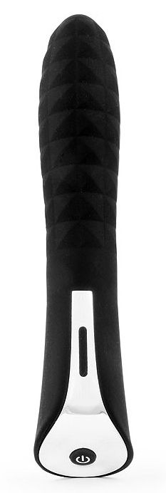 Черный вибромассажер с 7 режимами пульсации - 20 см.-