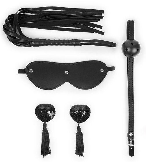 Эротический набор в черном цвете: маска