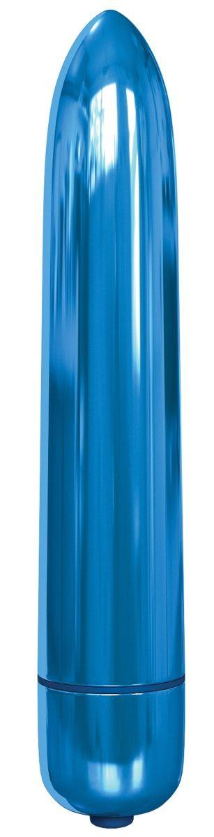 Голубая гладкая вибропуля Rocket Bullet - 8