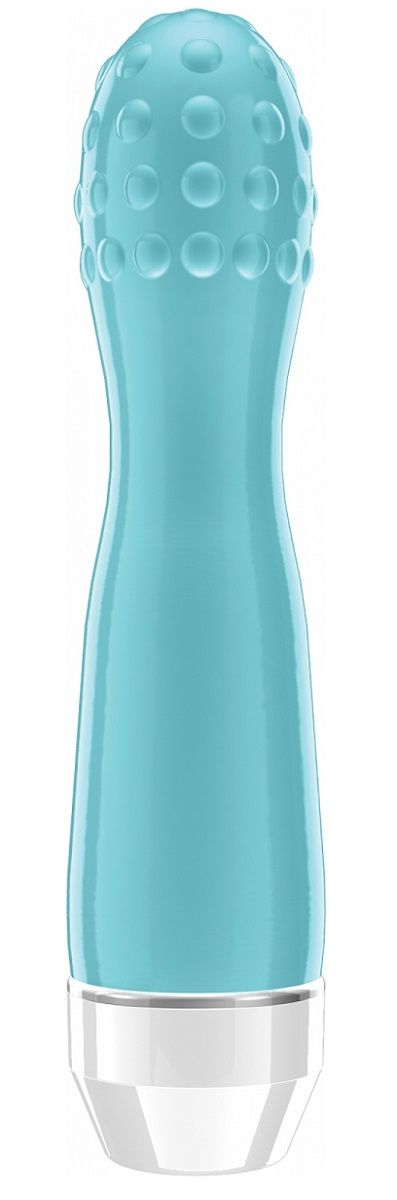 Голубой вибратор Lowri с покрытой шишечками головкой - 15 см.-