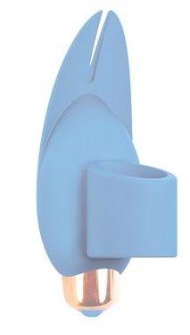 Голубой вибростимулятор с петелькой под палец - 8 см.