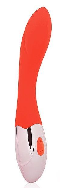 Красный изогнутый вибромассажер с 10 режимами вибрации