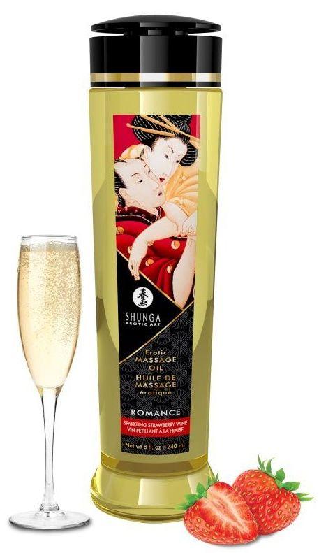 Массажное масло с ароматом клубники и шампанского Romance - 240 мл.-