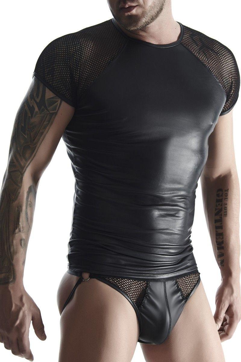 Мужская футболка с сетчатыми рукавами-реглан