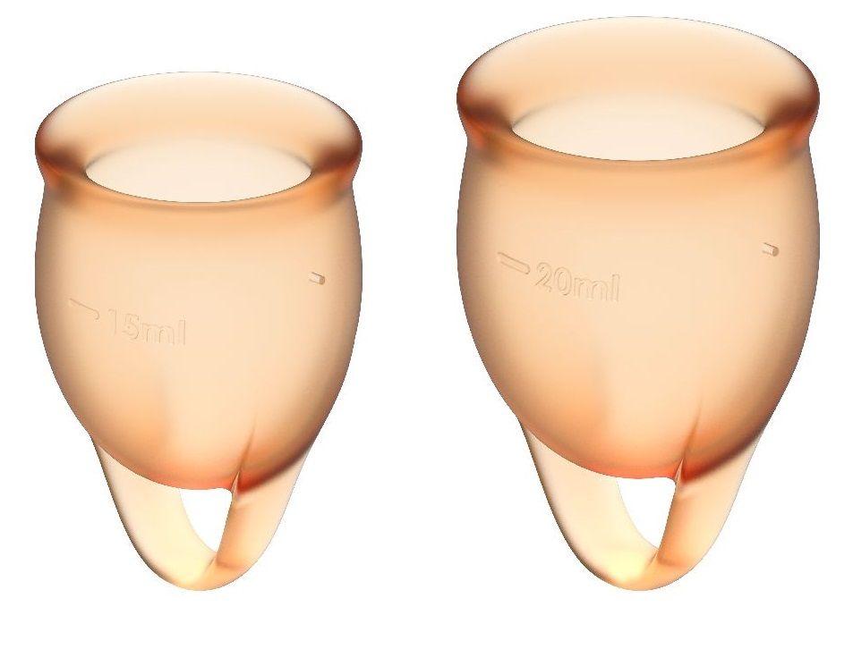 Набор оранжевых менструальных чаш Feel confident Menstrual Cup-