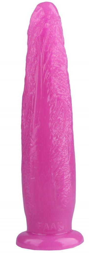 Розовая рельефная анальная втулка - 28 см.-