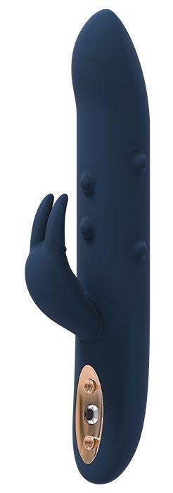 Синий вибромассажер-кролик ALPHEUS - 23 см.-