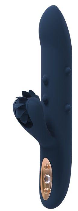 Синий вибромассажер-кролик ATHENA - 23 см.-