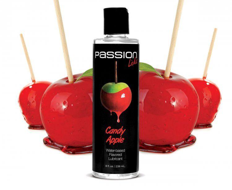 Смазка на водной основе Passion Licks Water Based Flavored Lubricant со вкусом яблока - 236 мл.-