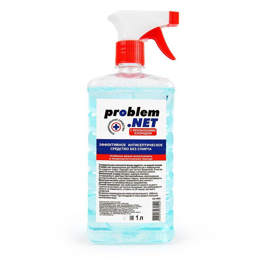 Универсальная антисептическая жидкость Problem.net в флаконе с распылителем - 1 л.-