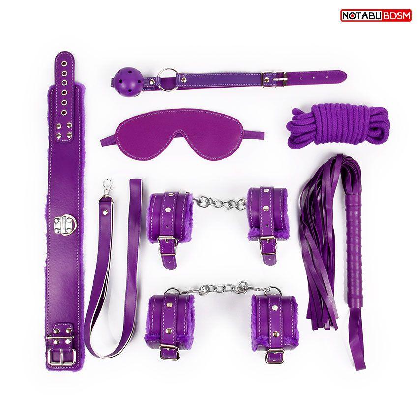 Большой набор БДСМ в фиолетовом цвете: маска