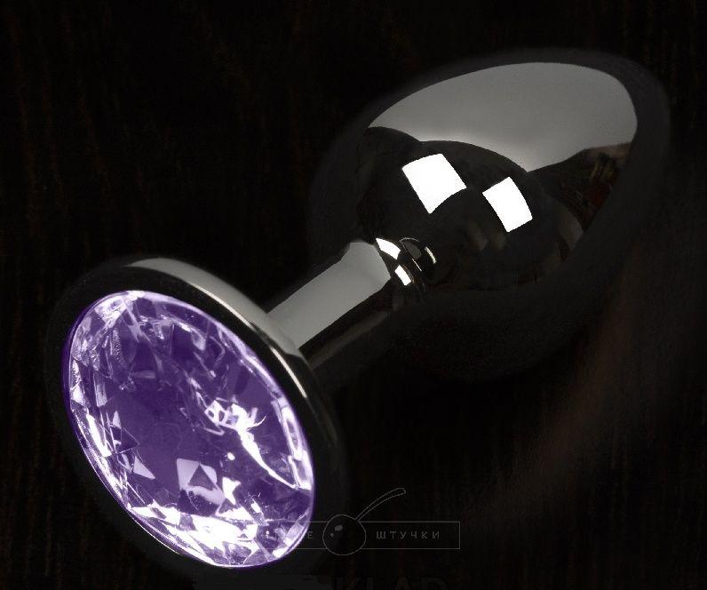 Графитовая анальная пробка с фиолетовым кристаллом - 8