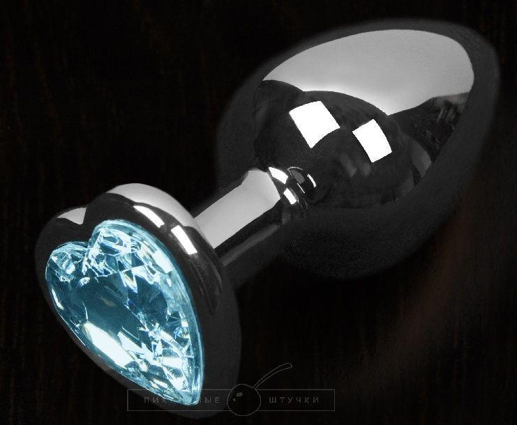 Графитовая анальная пробка с голубым кристаллом в виде сердечка - 8