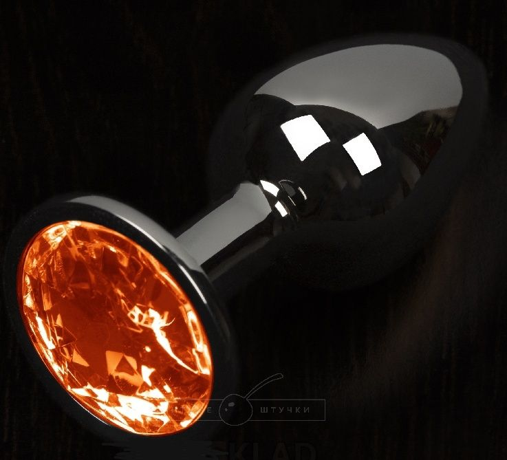 Графитовая анальная пробка с оранжевым кристаллом - 8