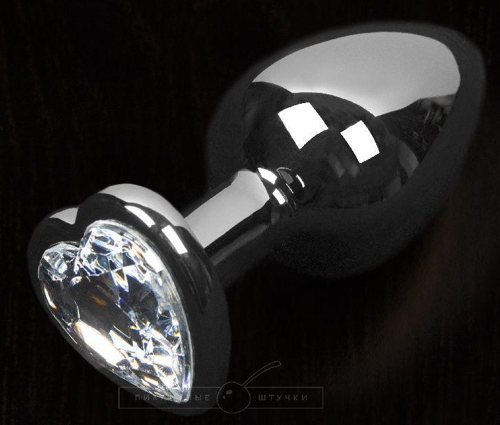 Графитовая анальная пробка с прозрачным кристаллом в виде сердечка - 8