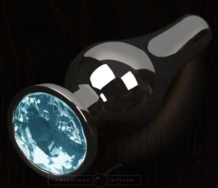 Графитовая удлиненная анальная пробка с голубым кристаллом - 8