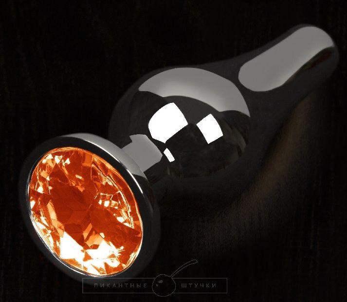 Графитовая удлиненная анальная пробка с оранжевым кристаллом - 8