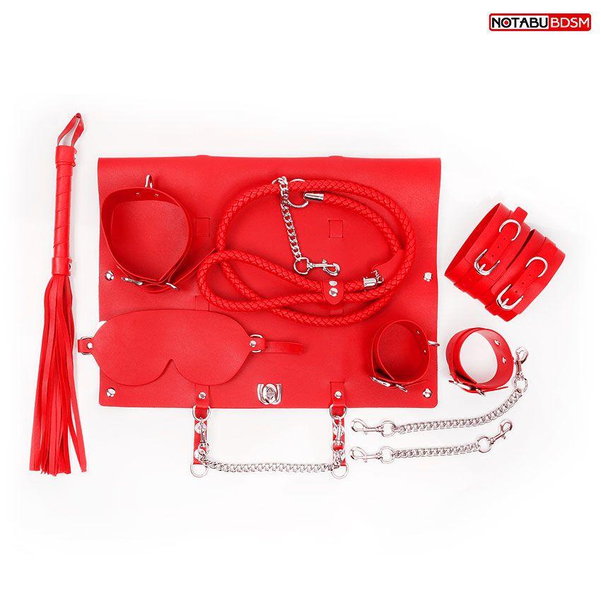 Красный набор БДСМ в сумке: маска