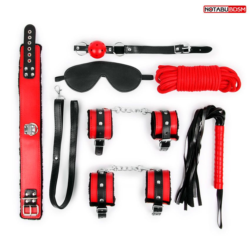Оригинальный красно-черный набор БДСМ: маска