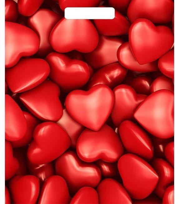 Полиэтиленовый пакет Сердечки - 40 х 31 см.