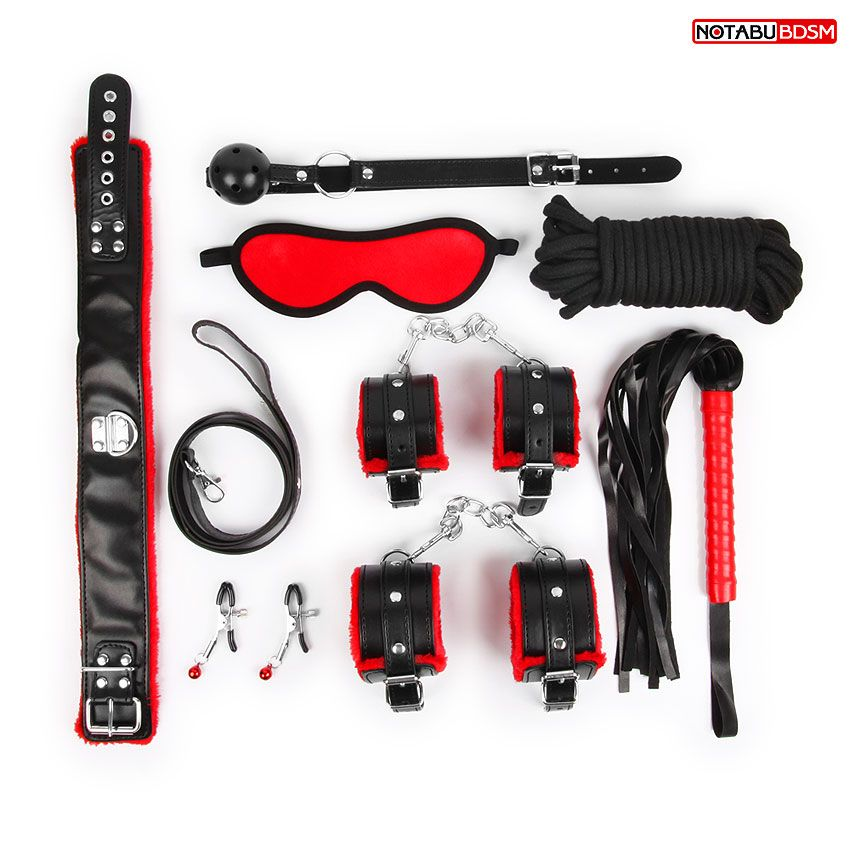 Стильный черно-красный набор БДСМ: маска
