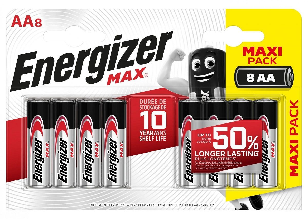 Батарейки Energizer MAX BP8 RU 1.5V типа АА - 8 шт.