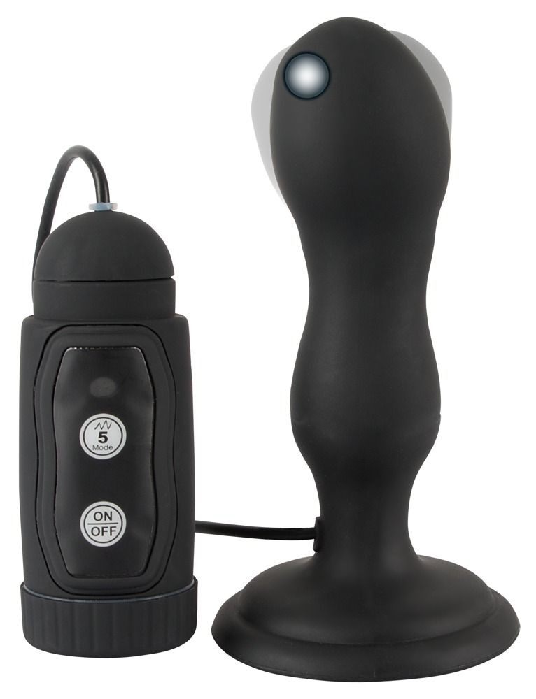Черная анальная вибропробка с вращением Butt Plug - 13