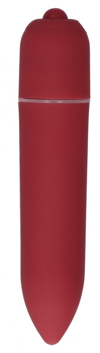 Красная удлинённая вибропуля Power Bullet Black - 8