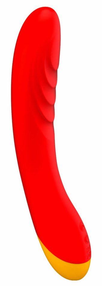 Красный изогнутый вибромассажер Romp Hype G-Spot - 21 см.
