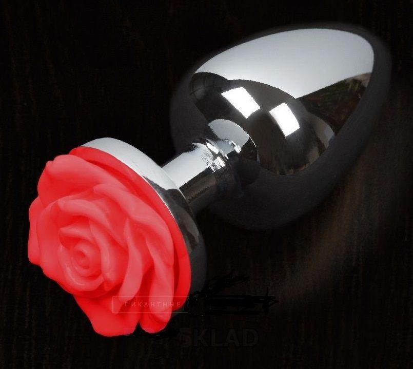 Маленькая анальная пробка с красной розочкой - 6 см.