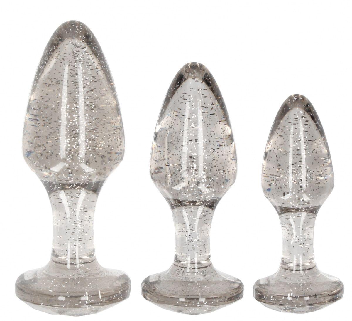 Набор из 3 серебристых анальных пробок Acrylic Goldchip Butt Plug Set