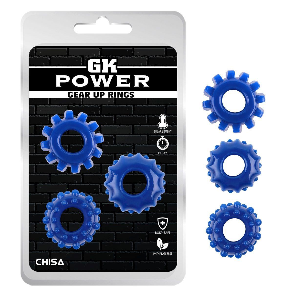 Набор из 3 синих эрекционных колец Gear Up Rings