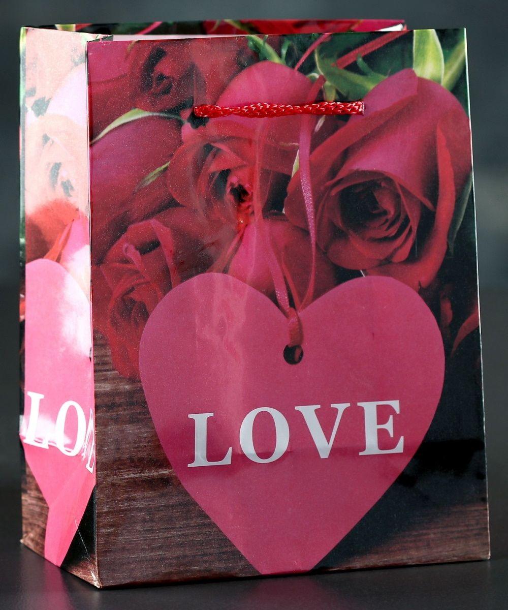 Подарочный пакет Love с розочками и сердечками - 15 х 12 см.