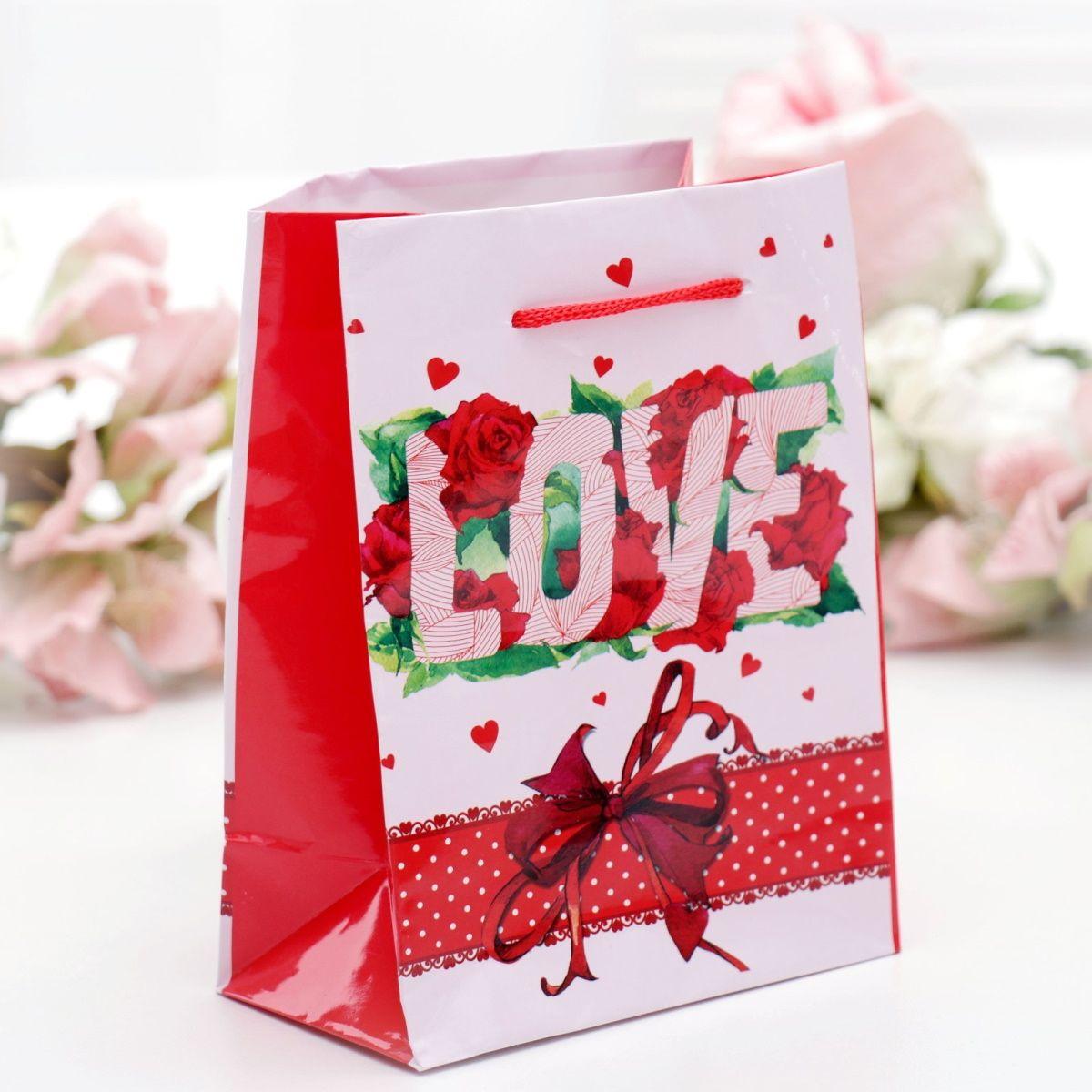Подарочный пакет Любовь - 12 х 15 см.