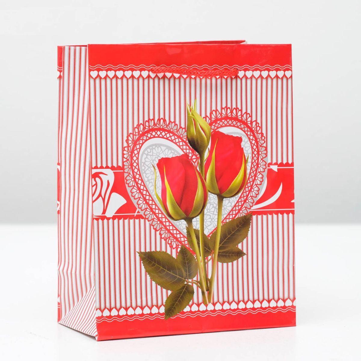 Подарочный пакет От всего сердца - 15 х 12 см.
