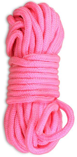 Розовая верёвка для любовных игр - 10 м.