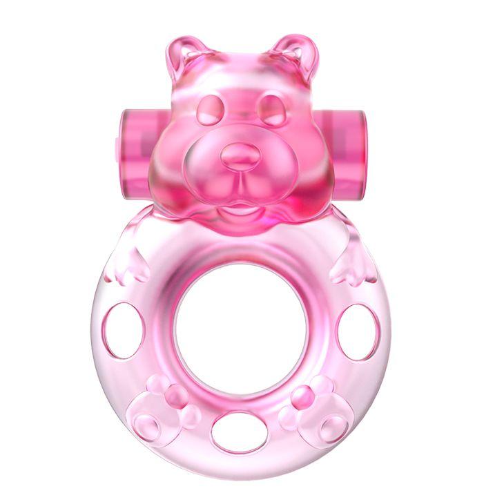 Розовое эрекционное виброкольцо на пенис Pink Bear