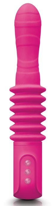 Розовый вибромассажер с функцией поступательных движений Deep Stroker - 24
