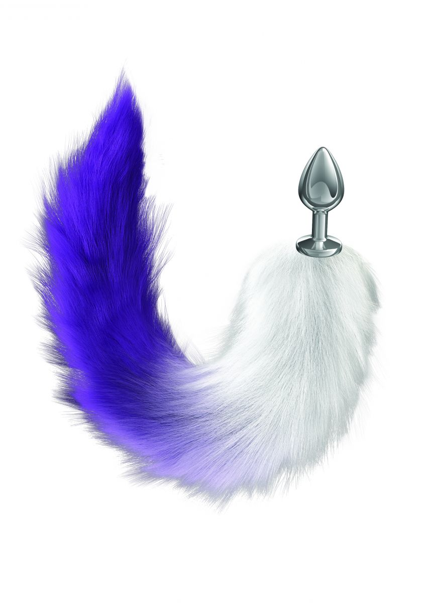 Серебристая анальная пробка с фиолетовым хвостом Galaxy