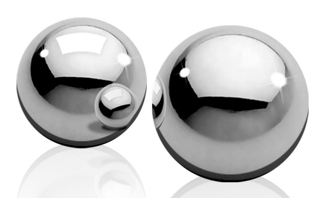 Серебристые металлические вагинальные шарики Heavy Weight Ben-Wa-Balls